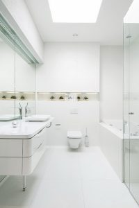 bathroom-reflective-white-surfaces-with-decorative-niche-and-plants-portrait